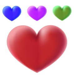 colour 3d hearts vector image