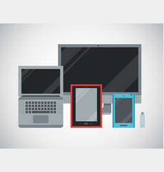 computer devices and connected mobile vector image