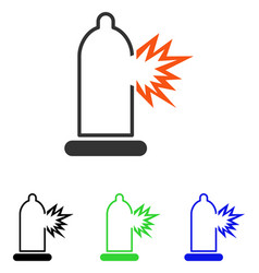 condom damage flat icon vector image