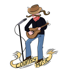 country singer with a guitar logo with vector image
