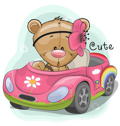 Cute teddy girl goes on the car vector