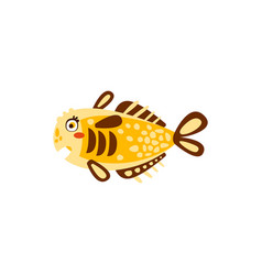 cute yellow fish hand drawn vector image