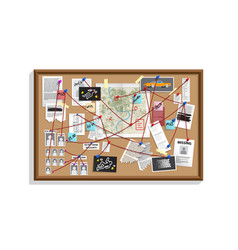 Detective board with pins and evidence crime vector