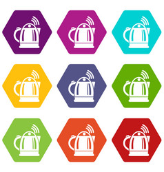electric kettle icons set 9 vector image