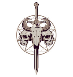 emblem with skulls sword and pentagram vector image