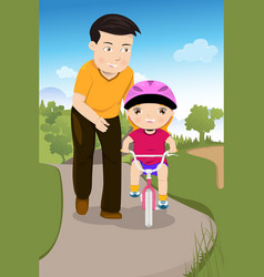 father teaching his daughter riding a bike vector image