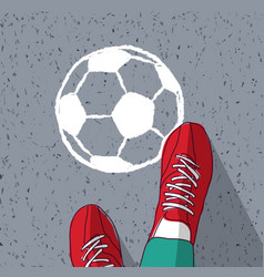 feet young man top view soccer ball painted on vector image