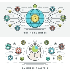 Flat line Online Business Analysis Concept vector image vector image