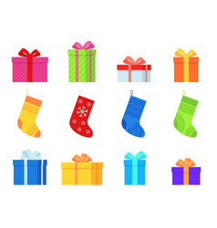 gifts and christmas socks various traditional vector image