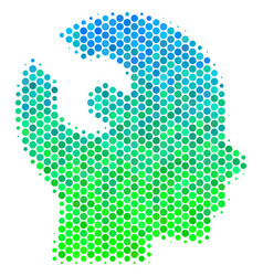 Halftone blue-green brain wrench tool icon vector