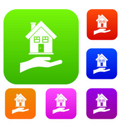 hand holding house set collection vector image