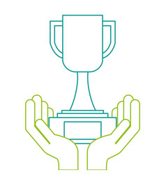 hands human with trophy cup winner icon vector image
