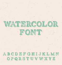 Handwritten watercolor font template vector