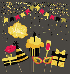 Happy birthday decoration with party flags vector
