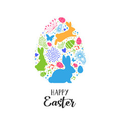 happy easter card egg shape decoration icons vector image
