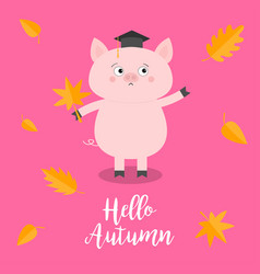 Hello autumn pig piglet graduation hat academic vector