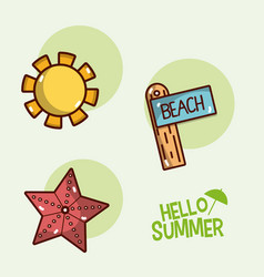 Hello summer icons cartoons vector