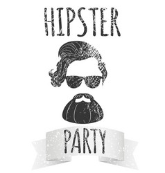 hipster male with eyeglasses with lettering vector image