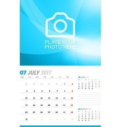 July 2017 Wall Monthly Calendar for 2017 Year vector image
