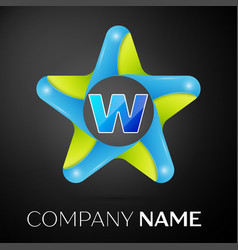 letter w logo symbol in the colorful star on black vector image