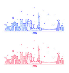 Lisbon skyline portugal city buildings vector