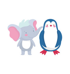 Little elephant and penguin cartoon character on vector