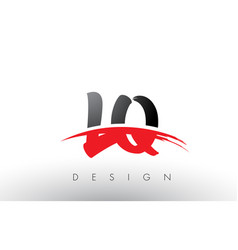 lq l q brush logo letters with red and black vector image