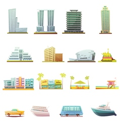 Miami Transportation Landscape Elements Icons Set vector