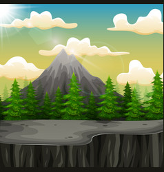 nature landscape with mountain and the cliff vector image