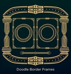 Ornament doodle border frames Set in vintage style vector