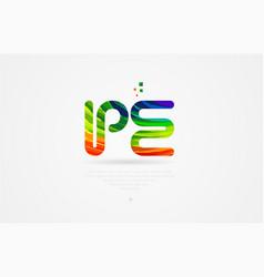 Pe p e rainbow colored alphabet letter logo vector