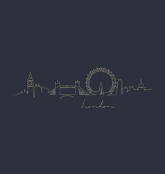 pen line silhouette london dark blue vector image