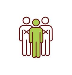 Person-to-person contact avoiding rgb color icon vector