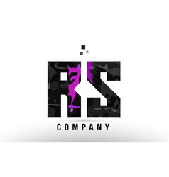 Purple black alphabet letter rs r s logo vector