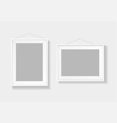 realistic detailed 3d picture frame white template vector image