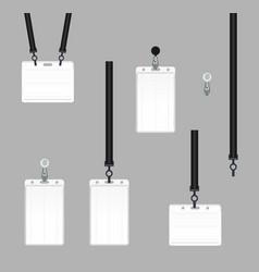 Realistic set plastic badges samples vector