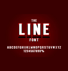 red line font set collection letters and numbers vector image