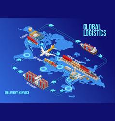 scheme of global logistics on world map vector image