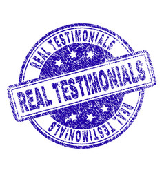 Scratched textured real testimonials stamp seal vector