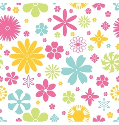 Seamless pattern of spring and summer flowers vector