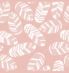 seamless pattern with white leaves on pink vector image