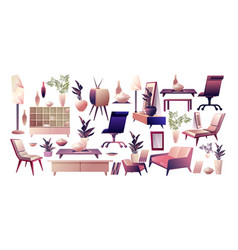 set furniture and decor elements vector image