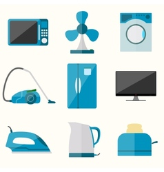 Set household appliances icons vector