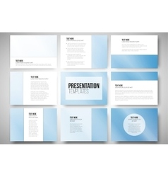 Set of 9 templates for presentation slides Blue vector image