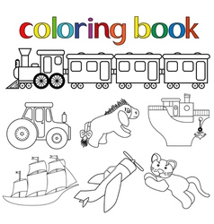 Set of different toys for coloring book vector