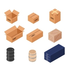 Set of isometric boxes vector image