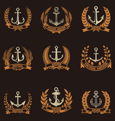 Set of the emblems with anchors and wreaths vector
