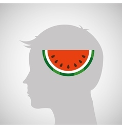 silhouette head with tasty watermelon icon graphic vector image