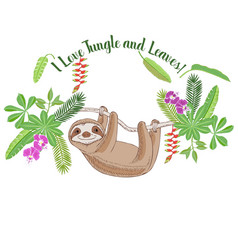Sloth in jungle animal and plants sketches vector