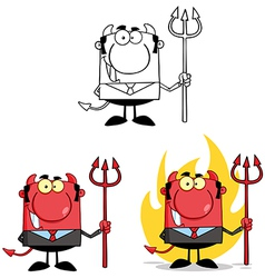 Smiling Devil Boss With A Trident Collection vector image